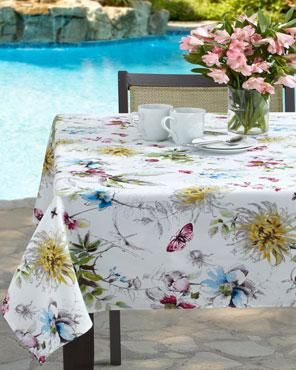 Blooming Floral Indoor Outdoor Tablecloth Table Cloth Outdoor Tablecloth Elegant Tablecloth