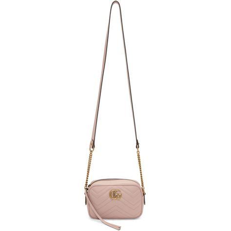 49f8cd38f9608 GUCCI Pink Mini GG Marmont 2.0 Camera Bag.  gucci  bags  shoulder bags   leather