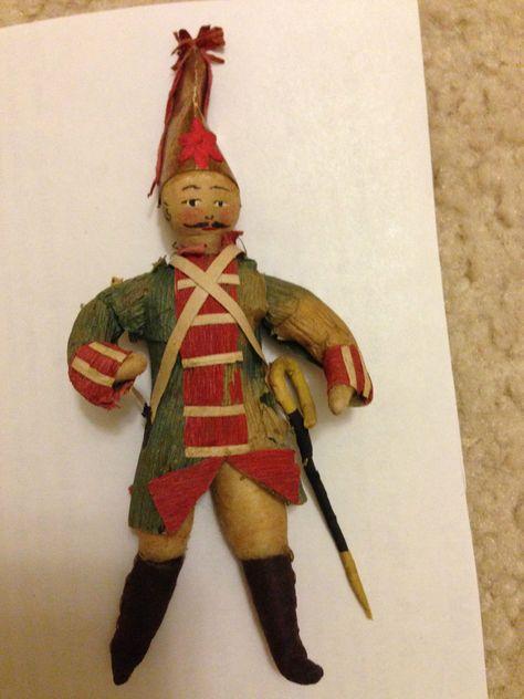 Antique Soldier Infantry Saber Corn Husk Spun Cotton Christmas Tree Ornament | eBay sold 293.99