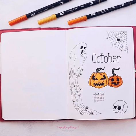 Spooky Scary Halloween themed Bullet Journal setup. What theme did you choose for your October Bullet Journal spreads? #mashaplans #bulletjournal #halloween