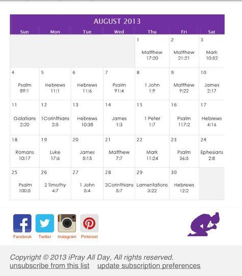 """August """"faith"""" calendar"""