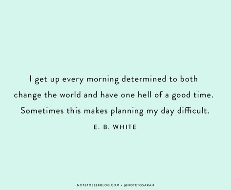 I get up every morning determined to both change the world and have one hell of a good time. Sometimes this makes planning my day difficult. E.B. White