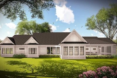 Plan 890085ah 3 Bed Farmhouse Ranch For The Wide And Shallow Lot Ranch House Designs Floor Plans Ranch One Floor House Plans