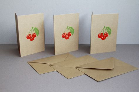 Cherries on craft paper