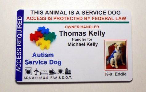 AUTISM SERVICE DOG VEST ID CARD / PET BADGE FOR SERVICE ANIMAL CUSTOM MADE 12 #QuickIDCards
