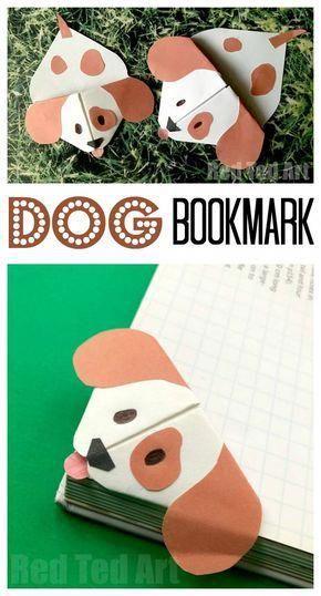 Emoji Dog Corner Bookmark - Cute little Dog Bookmark craft based on the Emoji Dog design Pops over the edges of your book. Oh so cute! Love Paper Dog Crafts for Kids. #Dogs #dogdiys #dogcrafts #dogcraftsforkids #chinesenewyear #yearofthedog #papercraftideas