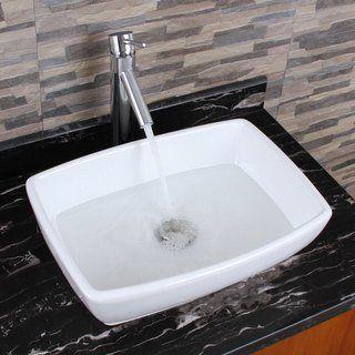 Elimax S Unique Rectangle Shape White Porcelain Bathroom Vessel Sink With Faucet Combo Oil Rubbed Bronze Finish Faucet Sink Elite Vessel Sink Bathroom Sink Vessel Sink