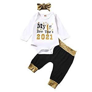 Baby Girls My First New Year Romper Outfit 1st 2021 Shirt Pant Headband 3pc Set Crib Bedding Sets And Baby Bedding In 2020 Romper Outfit Sweatshirt Tops Striped Sweatshirts