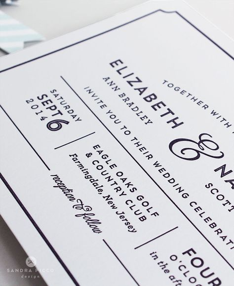 Caroline modern wedding invitation in flat print or letterpress ©Sandra Picco Design www.sandrapicco.com