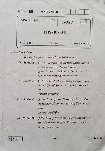Hsc Physics Board Paper Solution 2020 Physics Question Paper Question Paper Physics