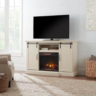 Home Decorators Collection Chastain 56 In Freestanding Media Console Electric Fireplace Tv Stand With Sliding Barn Door In Ivory 118106 The Home Depot Electric Fireplace Tv Stand Fireplace Tv Stand Electric Fireplace