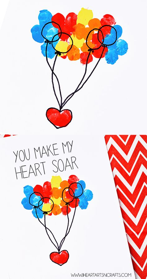 """""""You Make My Heart Soar"""" Fingerprint Card - An easy craft for Valentine's Day or Mother's Day!"""