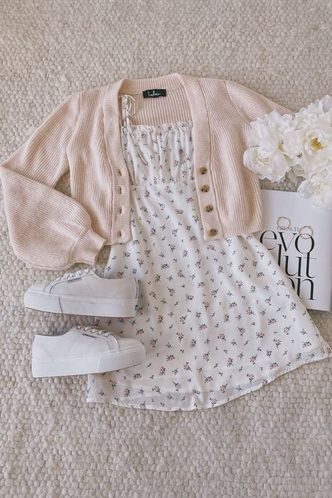Be a Wildflower White Floral Print Tie-Strap Mini Dress Girl Outfits DRESS Floral Mini print TieStrap White Wildflower Cute Casual Outfits, Girly Outfits, Cute Summer Outfits, Mode Outfits, Retro Outfits, Hipster Outfits, Summer Clothes, Outfits For Spring, Cute Clothes