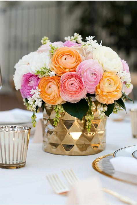 floral arrangement obsession via StyleUnveiled.com / McCune Photography / Peach and Gold Wedding Ideas