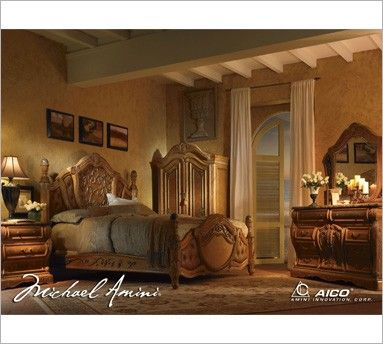 Michael Amini Trevi Bedroom Collection | Natural and Light Brown ...