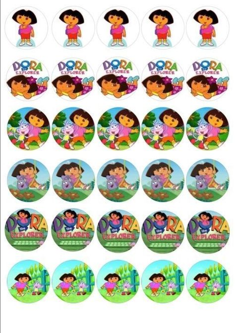 24 PERSONALISED DORA THE EXPLORER EDIBLE RICE PAPER CUP CAKE TOPPERS