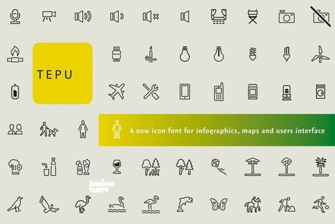 Tepu is a pictogram set which is inspired in modern iconography. It is a font with three different versions. Black: white icons on a black background, Regular: black icons on a white background, and Outline: pictograms made with constant thickness. Designed by Sergio Ramírez.