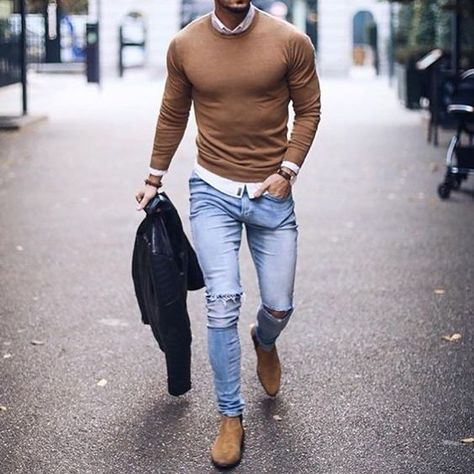 Jeans, beige Chelsea Boots, beige pullover See other ideas and pictures from the category menu….