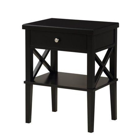 Comfort Pointe Marta Nightstand In White Walmart Com Wood Nightstand Black Nightstand Wooden Nightstand