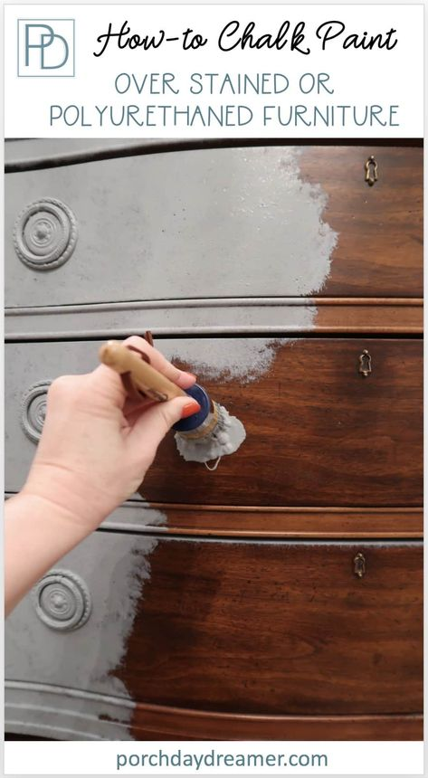 Yes ,you can use chalk paint right over stain! No priming or sanding required. Step by step quick and easy tutorial of how I transformed this stained credenza with french blue Sharkfin chalk paint fro Refurbished Furniture, Repurposed Furniture, Furniture Refinishing, Stain Furniture, Whitewashing Furniture, Refinishing Kitchen Tables, Annie Sloan Chalk Paint Furniture, Bedroom Furniture Redo, Metallic Painted Furniture