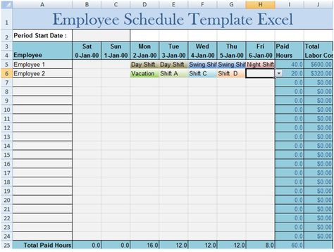Download Employee Schedule Template Excel office Pinterest - shift schedule template