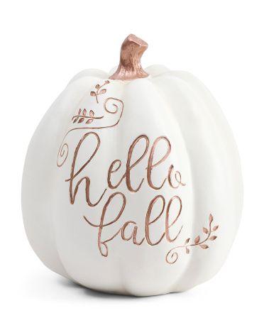 8 5in Resin Hello Fall Pumpkin Fall Decor T J Maxx Pumpkin Fall Decor Fall Pumpkins Fall Decor