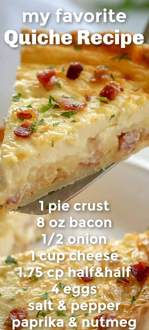 The best EASY Quiche Lorraine with a savory egg custard, bacon, and cheese filling in flaky pie crust. Quiche Lorraine is the gold standard of quiche recipes! Perfect breakfast and brunch food. #quiche #quicherecipe #quichelorraine #howtomakequiche #piecrust #savorypie #natashaskitchen