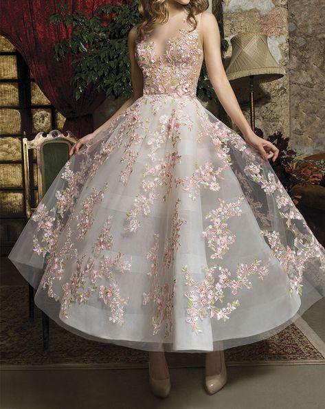 Charming A line Wedding Dresses,Flowers Bridal Dress,SF0104
