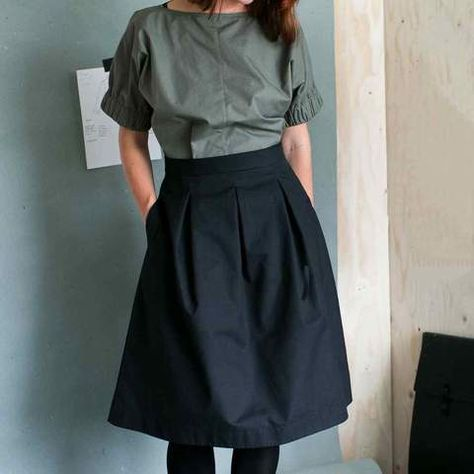 From The Assembly Line, the Three Pleat Skirt Sewing Pattern has a pleated front and a plain back which gives a flattering fit and it falls to just below the knee. This is a paper pattern sold in single sizes, from XS to L. Easy to sew and easy to wear....
