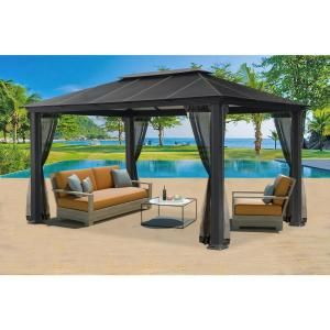 Paragon Outdoor Paragon 11 Ft X 16 Ft Aluminum Hard Top Gazebo With Mosquito Netting Gz3xlk The Home Depot Gazebo Aluminum Gazebo Patio Gazebo
