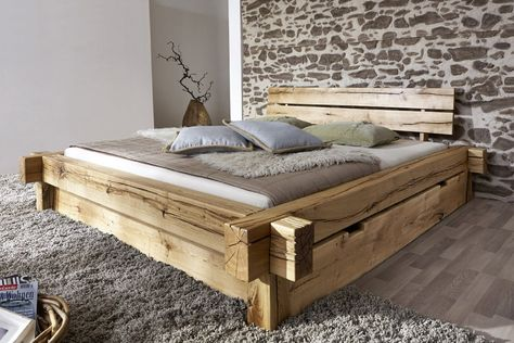 Amazon.de: SAM® Holzbett Jonas 180 x 200 cm mit Schubkästen Bett aus geölter Wildeiche Holz massiv