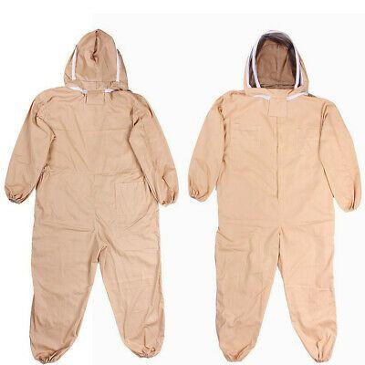 L XL XXL Professional Cotton Full Body Beekeeping Bee Keeping Suit Veil Hood USA