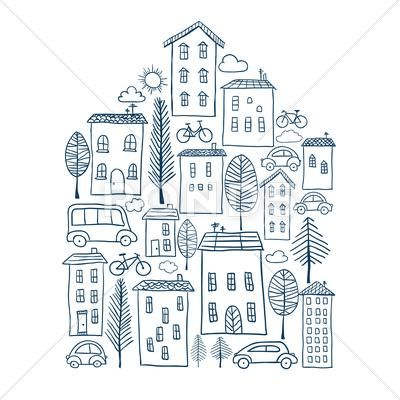 Town Doodles In House Shape Stock Illustration Ad House Doodles Town Illustration Town Drawing Doodle Art Drawing Doodle Drawings