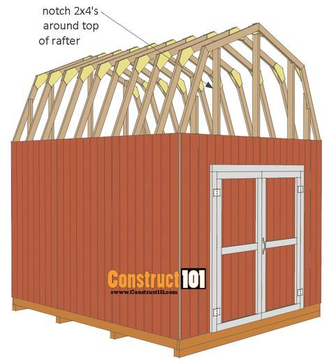 Shed Plans 10x12 Gambrel Shed Construct101 10x12 Shed Plans Shed Plans Diy Shed Plans