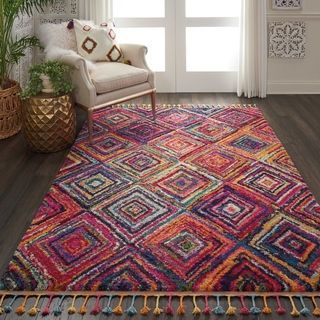 I Really Feel Like I Need This In My Office Nourison Moroccan Casbah Red Multicolor Tassel Rug 5 3 X 7 9 Colorful Moroccan Rugs Area Rugs Rugs On Carpet
