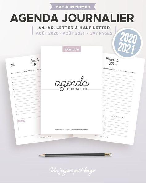 Agenda journalier 2021/2022 à imprimer, recharge en français pour planner imprimable A5 et A4, daté de août 2021 à août 2022