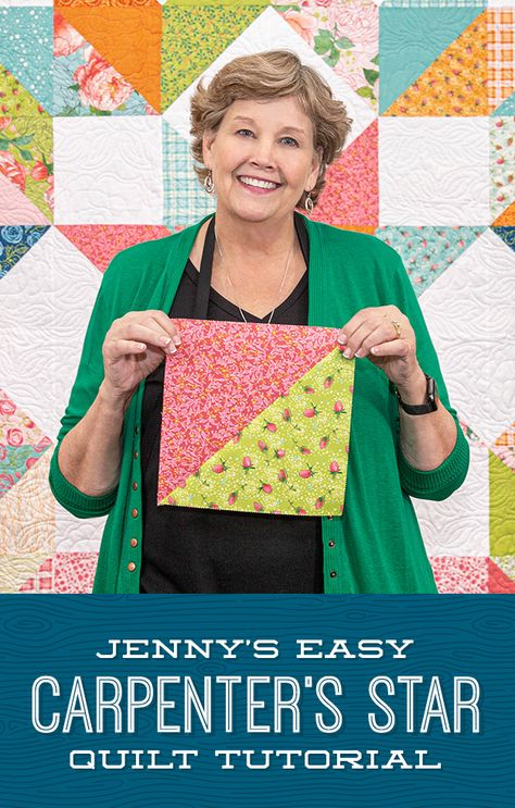 The Carpenter's Star has never been easier thanks to Jenny Doan's simplified version of this classic which uses half-squ Star Quilt Blocks, Star Quilt Patterns, Star Quilts, Easy Quilts, Sampler Quilts, Block Patterns, Missouri Star Quilt Pattern, Missouri Quilt Tutorials, Quilting Tutorials