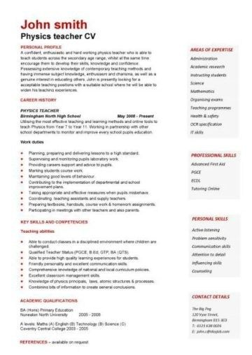 Teacher Cv Template Lessons Pupils Teaching Job School In 2020 Teacher Cv Template Teacher Cv Resume Summary Examples