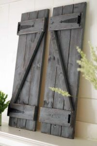 Lot of 2 Black Weathered Look Shutter Primitive Wood Rustic