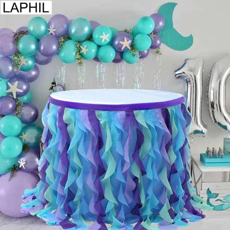 Under the Sea Party Blue Pink Tulle Table Skirt Wedding Table Decor Baby Shower Gender Reveal Suppli Mermaid Theme Birthday, Little Mermaid Birthday, Little Mermaid Parties, Blue Birthday, Mermaid Baby Showers, Baby Mermaid, Baby Shower Mermaid Theme, Mermaid Art, Lila Party