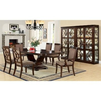 Set Of 2 Lumbridge Fabric Padded Lined Edges Armchairs Walnut Homes Inside Out Walnut Finish Dining Table Furniture Of America Pedestal Dining Table