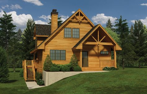 The Great room in this compact Cottage design boasts  a wood stove, vaulted ceilings, window seats, and access through French doors to a partially covered wrap around sundeck,  House Plan # 491020.