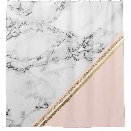 Modern White Marble Blush Gold Stripes Color Block Shower Curtain Zazzle Com Blush Gold Gold Stripes Gold Curtains