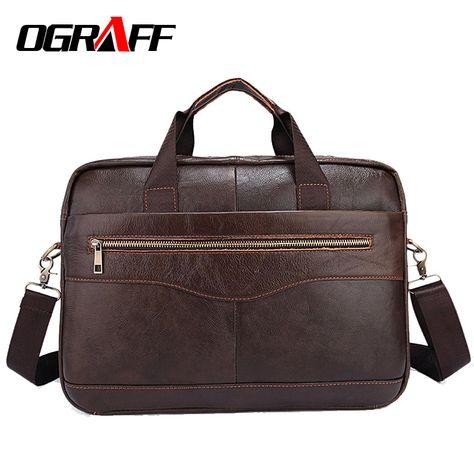 Brown Men Genuine Cow Leather Messenger Shoulder Bag Travel Bag Handbag Strap M
