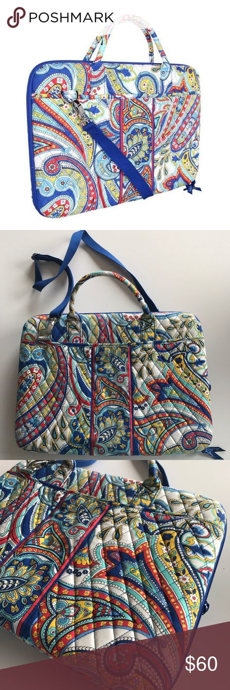 Vera Bradley Marina Paisley Laptop Case 💙 Dimensions: 17 x 12 x 2 1/2 inches Vera Bradley Marina Paisley Laptop Case with shoulder strap. Great condition, no flaws or signs of wear! Vera Bradley Bags Travel Bags