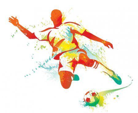 Jugador De Futbol Patea La Pelota Ilustracion Vectorial Fotbollsspelare