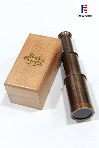 Pirate Navigation Handheld Brass Telescope Pullout with Wooden Gift Box