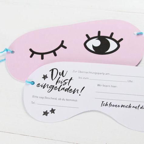 /Übernachtungsparty Einladungskarten Einladung Sleep Over Slumber Party Schlafmaske M/ädchen Jungs