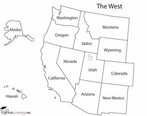 Map Of The Western Region Of The Us Full Far West States And Capitals States And Capitals Games By