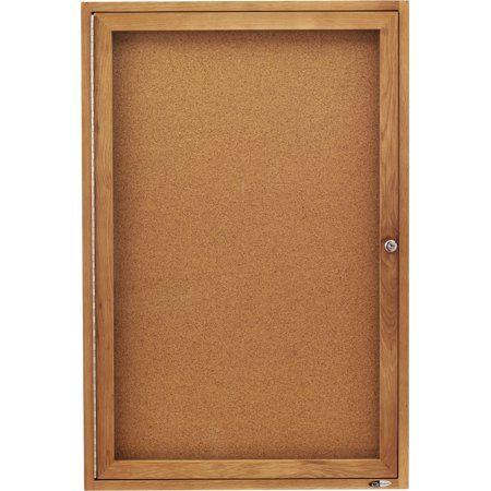 Quartet Qrt363 Oak Frame Enclosed Cork Bulletin Board 1 Each
